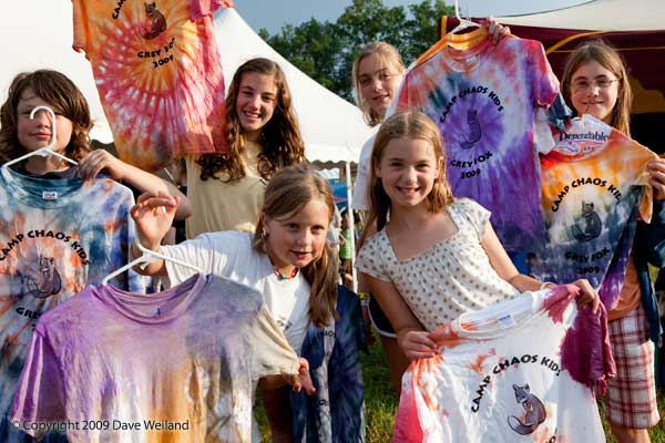 Kids display their tie-dyed artwork - Photo by Dave Weiland